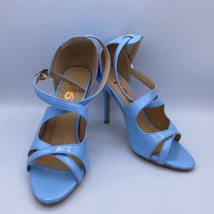 FSJ Light Blue Stiletto Heels Cross-over Strap